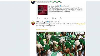 Nigerians react to AS Roma tweets 'supporting' World Cup bound Super Eagles
