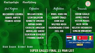 Nigeria coach names final World Cup squad, says team has 'a lot of work to do'