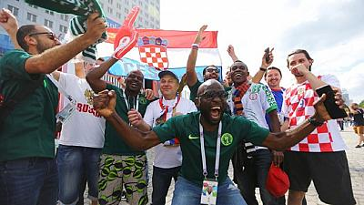 [Photos] Colourful Nigerian, Croatian fans light up Kaliningrand ahead of Group D clash