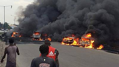 Nigerian oil tanker fire kills nine in commercial capital Lagos