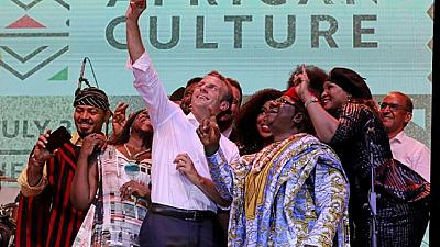 [Photos] 'Join politics': Macron tells Nigerian youth to emulate music legend Fela Kuti