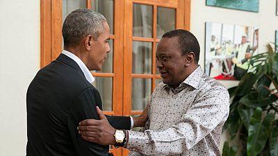 Photos: Obama arrives in Kenya, meets Kenyatta and Odinga