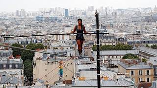 Incredible: Parisian tightrope walker soars 35 m high on a thread