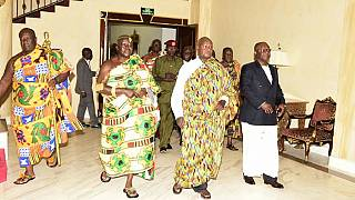 Photos: Uganda's Museveni goes traditional as he hosts Ghana's Asantehene