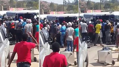 Video: South Africa cash van attacked, residents join to loot