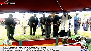 Live: Kofi Annan gets military burial after 'glowing' memorial event
