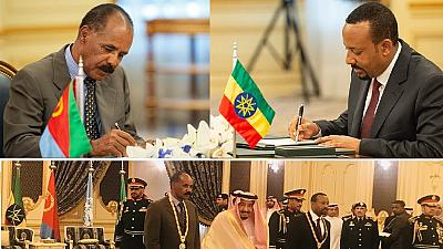 Photos: Eritrea, Ethiopia leaders sign peace deal in Saudi, awarded gold medals