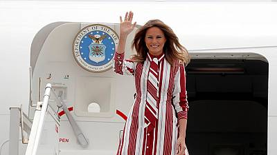 Music, dance as Mrs. Trump arrives in Ghana on Africa trip