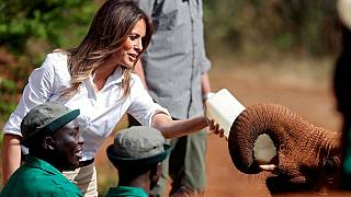 Melania Trump visits elephant orphanage in Kenya.