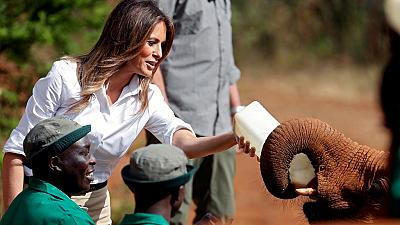 Melania Trump visits elephant orphanage in Kenya