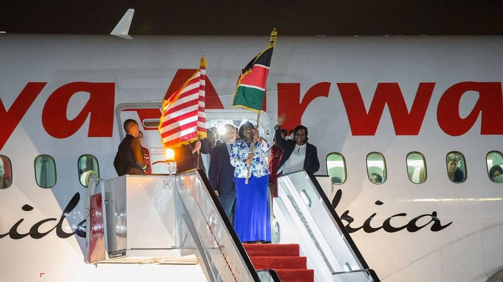 Image result for Historic Kenya Airways direct flight to U.S. arrives in New York