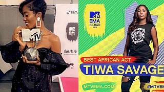 Nigeria's Tiwa Savage dedicates MTV EMA award to 'girls with dreams'
