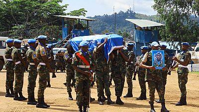 Funeral held for slain U.N peacekeepers in DRC