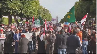 Protest underway in Tunis over Saudi Crown prince's visit