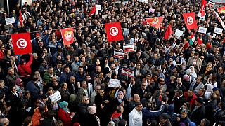 Tunisian high school teachers march for better pay, conditions