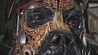 Artist tells Nigeria's story through sculptures made from scrap metal