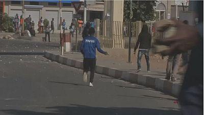 Senegal police disperse election protest