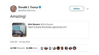 Donald Trump réagit à la vidéo virale d'une jongleuse malawite sur Twitter