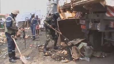 Cameroonian security personnel collect waste in conflict zone