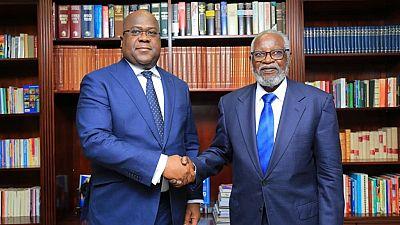 [Photos] Chaleureuse rencontre entre Félix Tshisekedi et Sam Nujoma, premier président de Namibie