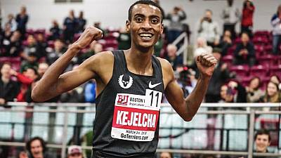 Ethiopia's Yomif Kejelcha breaks world indoor mile record