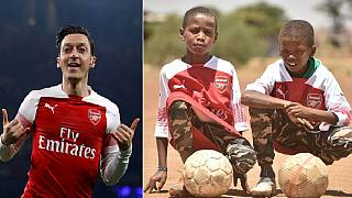 Photos: Arsenal's Ozil kits young Kenyan fans he 'met' on Twitter