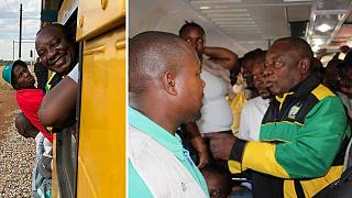 South Africa president stranded aboard public train