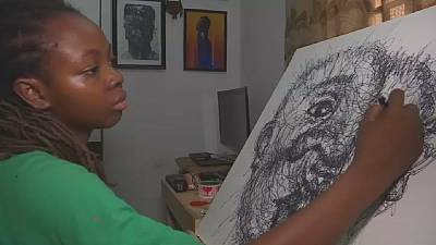 Nigerian artist turns scribbles into art