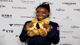 American gymnast Simone Biles breaks world record