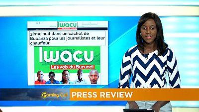 Burundi : les journalistes d'Iwacu détenus à Bubanza [Revue de presse]