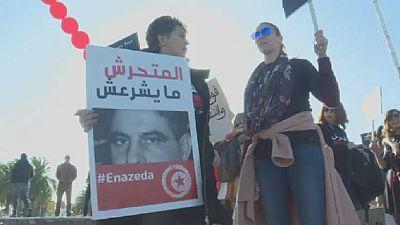 Des Tunisiennes protestent contre le harcèlement sexuel devant le Parlement