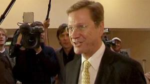 Free Democrat Leader Westerwelle votes in Germany