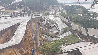 Brazzaville : effondrement d'une partie de la corniche surplombant le fleuve Congo