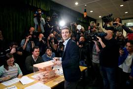 Popular Party (PP) candidate Pablo Casado casts his vote in Madrid