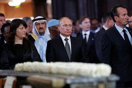 Vladimir Poutine, président de la Russie assiste à la cérémonie funéraire de Jacques Chirac en l'église Saint-Sulpice à Paris