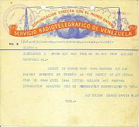 A telegram sent to Jan Stein Rosinski's brother who lived in Venezuela