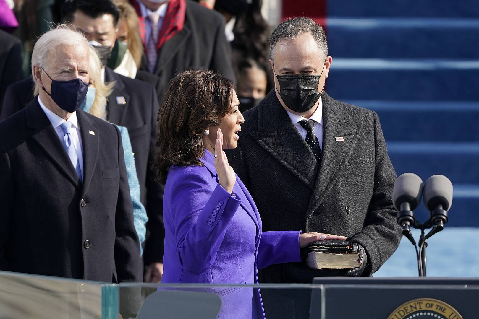Kamala Harris is sworn in as vice president as her husband Doug Emhoff holds the Bible during the 59th Presidential Inauguration at the U.S. Capitol in Washington. January 20,