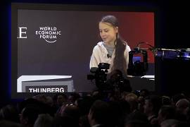 Swedish environmental activist Greta Thunberg addresses the World Economic Forum in Davos, Switzerland. 21 January 2020.
