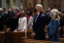 President-elect Joe Biden and his wife Jill Biden attend Mass at the Cathedral of St. Matthew the Apostle during Inauguration Day ceremonies. January 20, 2021