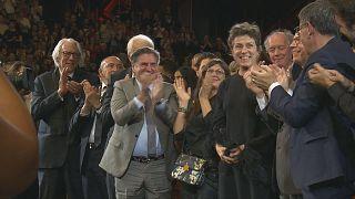 Daniel Auteuil en compagnie de rances McDormand et Donald Sutherland lors de la soirée d'ouverture du Festival Lumière 2019