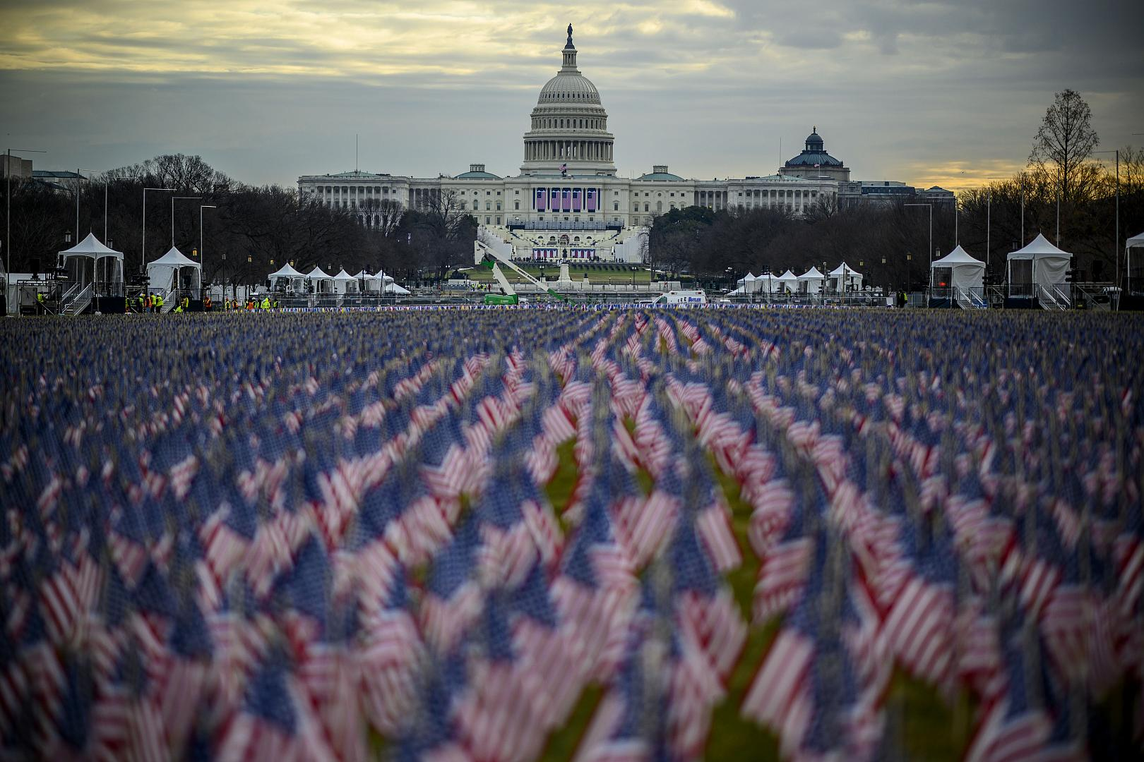 A field of flags is seen on the National Mall ahead of Joe Biden's swearing-in inauguration ceremony as the 46th US president in Washington, DC. January 18, 2021.