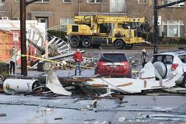 People look over storm damage in Nashville, Tennessee.