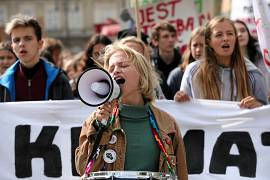 Young activists take part in an environmental demonstration, part of the Global Climate Strike, in Krakow, Poland September 20, 2019.