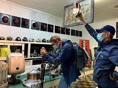 Euronews team filming at abandoned coal mine in the Romanian Jiu (Planeta Petrila mining museum)