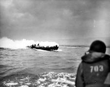 A LCVP landing craft from the U.S. Coast Guard attack