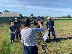 Small is beautiful: Euronews team interviewing Dutch bio pig farmer Bert Pappot and his 11 years old sun Gijsbert