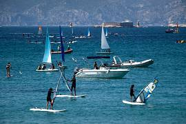 "People enjoy nautical activities at the ""Pointe Rouge"" beach at the beginning of a heatwave in Marseille, France on July 27, 2020"