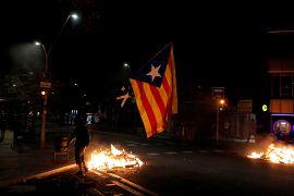 Un manifestante separatista con una Estelada en Barcelona, España, el 15 de octubre de 2019.