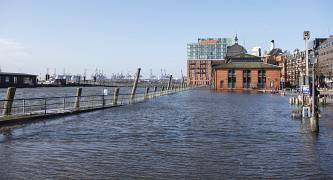 The fish market is flooded during a storm surge in Hamburg, Germany,