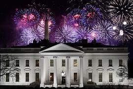Fireworks are seen above the White House at the end of the Inauguration day for US President Joe Biden in Washington, DC. January 20, 2021